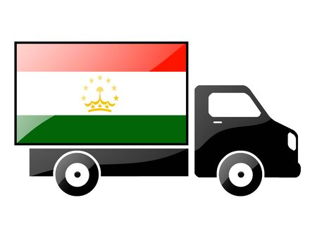 tajikistan: The Tajik flag painted on the silhouette of a truck. glossy illustration
