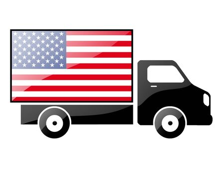 The USA flag painted on the silhouette of a truck. glossy illustration Stock Illustration - 15435938