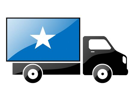 The Somalia flag painted on the silhouette of a truck. glossy illustration Stock Illustration - 15436071