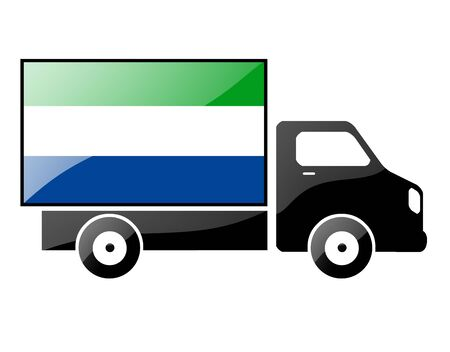conveyance: The Sierra Leone flag painted on the silhouette of a truck. glossy illustration Stock Photo