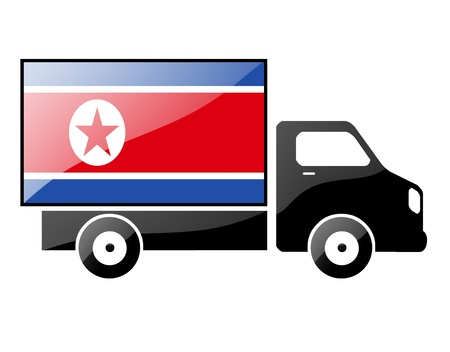 portage: The North Korea flag painted on the silhouette of a truck. glossy illustration