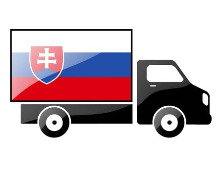 The Slovakia flag painted on the silhouette of a truck. glossy illustration Stock Illustration - 15435608
