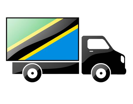 portage: The Tanzania flag painted on the silhouette of a truck. glossy illustration Stock Photo