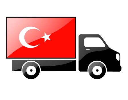 The Turkish flag painted on the silhouette of a truck. glossy illustration illustration