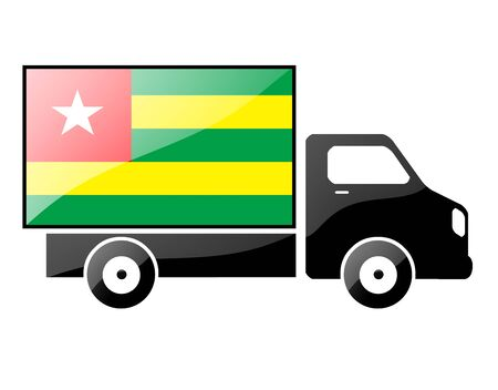 conveyance: The Togo flag painted on the silhouette of a truck. glossy illustration Stock Photo