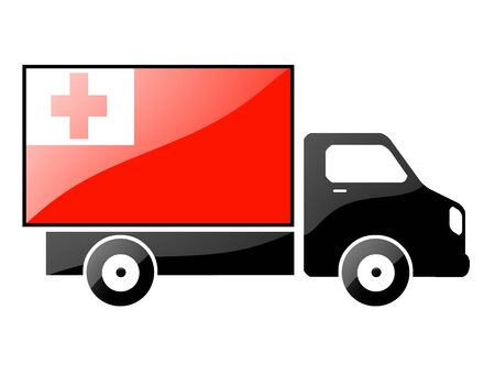 portage: The Tonga flag painted on the silhouette of a truck. glossy illustration
