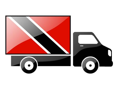 inland: The Trinidad and Tobago flag painted on the silhouette of a truck. glossy illustration