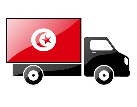 carting: The Tunis flag painted on the silhouette of a truck. glossy illustration Stock Photo