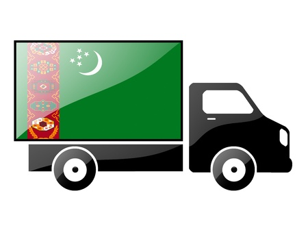 conveyance: The Turkmen flag painted on the silhouette of a truck. glossy illustration