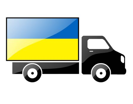 The Ukrainian flag painted on the silhouette of a truck. glossy illustration illustration