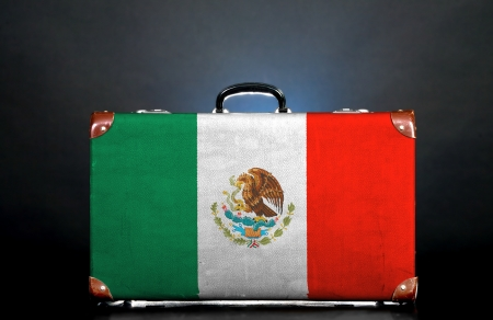 The Mexican flag on a suitcase for travel.