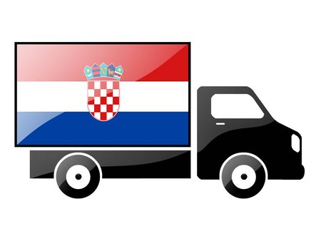 carting: The Croatian flag painted on the silhouette of a truck. glossy illustration