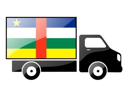 The Central African Republic flag painted on the silhouette of a truck. glossy illustration Stock Illustration - 15435435