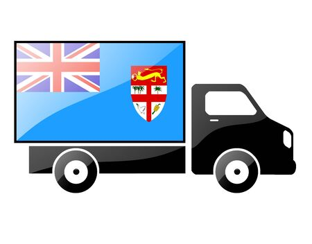 carting: The Fiji flag painted on the silhouette of a truck. glossy illustration Stock Photo