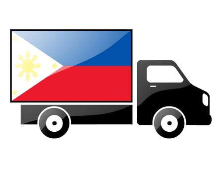 carting: The Philippines flag painted on the silhouette of a truck. glossy illustration Stock Photo