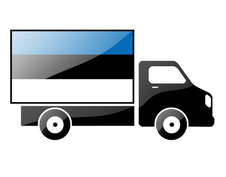 The Estonian flag painted on the silhouette of a truck. glossy illustration Stock Illustration - 15435380