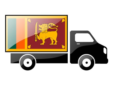 The Sri Lanka flag painted on the silhouette of a truck. glossy illustration Stock Illustration - 15435987