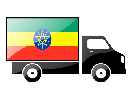 The Ethiopia flag painted on the silhouette of a truck. glossy illustration Stock Illustration - 15435947