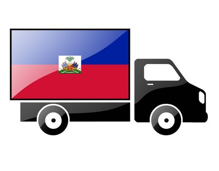 flag painted on the silhouette of a truck. glossy illustration illustration