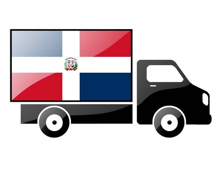conveyance: flag painted on the silhouette of a truck. glossy illustration Stock Photo