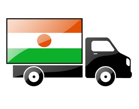niger: The Niger flag painted on the silhouette of a truck. glossy illustration
