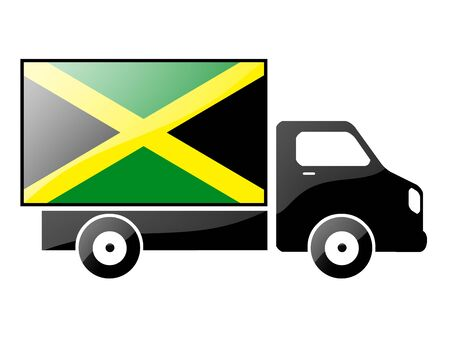 The Jamaica flag painted on the silhouette of a truck. glossy illustration Stock Illustration - 15435491