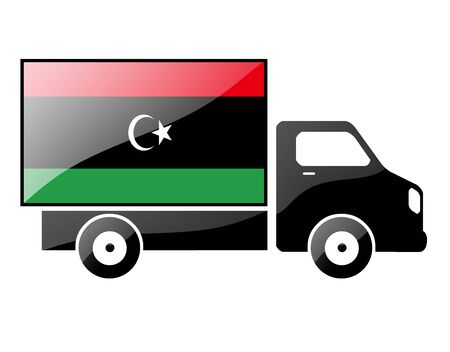 libyan: flag painted on the silhouette of a truck. glossy illustration Stock Photo