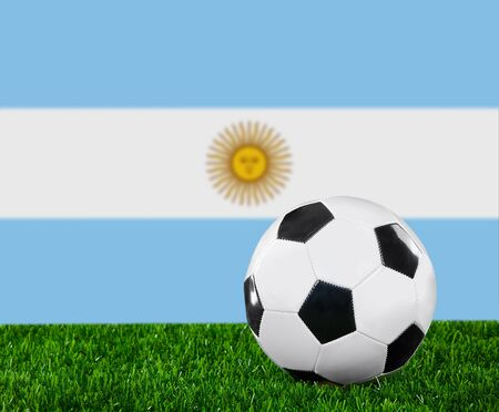 The Argentine flag and soccer ball on the green grass. photo