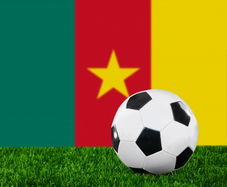 cameroonian: The Cameroonian flag and soccer ball on the green grass. Stock Photo