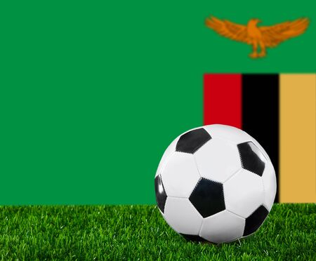 zambian flag: The Zambian flag and soccer ball on the green grass.