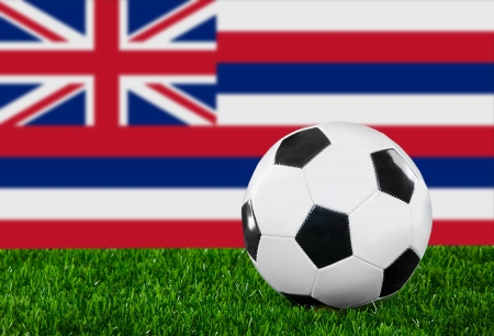 hawaii flag: The Hawaii flag and soccer ball on the green grass. Stock Photo