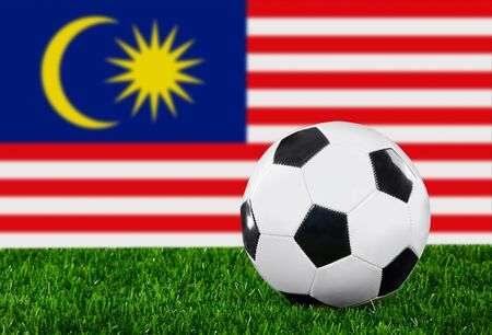 The Malaysia flag and soccer ball on the green grass. photo