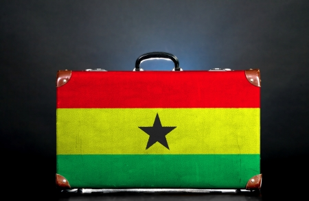 The Ghana flag on a suitcase for travel. photo