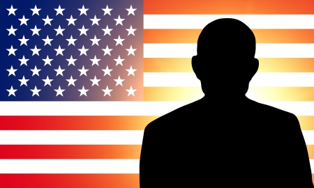 American flag and the silhouette  photo