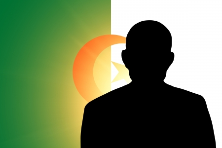 algerian flag: The Algerian flag and the silhouette of an unknown man