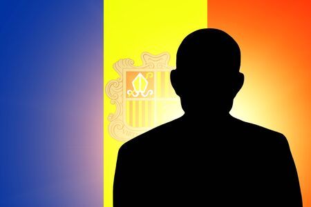 The Andorran flag and the silhouette of an unknown man Stock Photo - 15943441