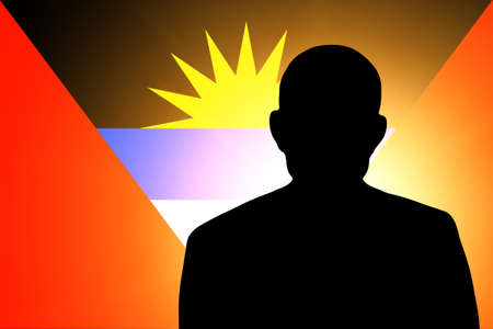 unnamed: The Antigua and Barbuda flag and the silhouette of an unknown man