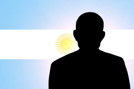 The Argentine flag and the silhouette of an unknown man Stock Photo - 15943391