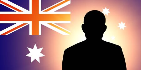The Australian flag and the silhouette of an unknown man photo