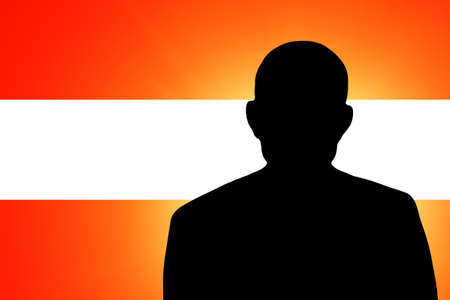 The Austrian flag and the silhouette of an unknown man Stock Photo - 15943343
