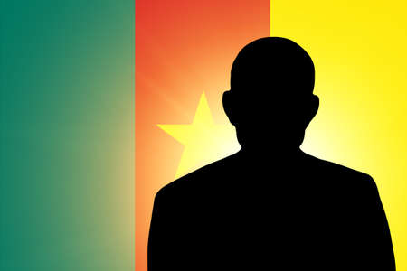 unnamed: The Cameroonian flag and the silhouette of an unknown man