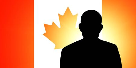 The Canadian flag and the silhouette of an unknown man Stock Photo - 15943338