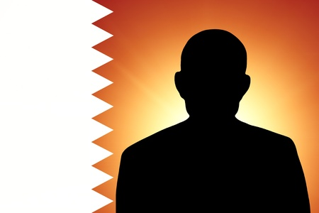pretender: The Qatari flag and the silhouette of an unknown man