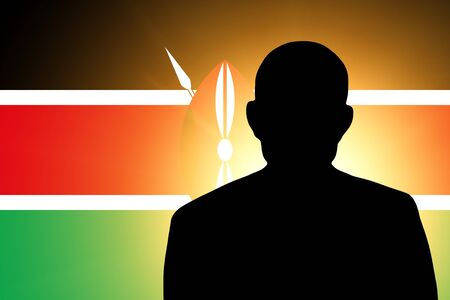The Kenyan flag and the silhouette of an unknown man photo