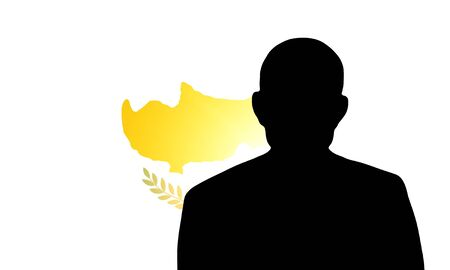 unnamed: The Cypriot flag and the silhouette of an unknown man