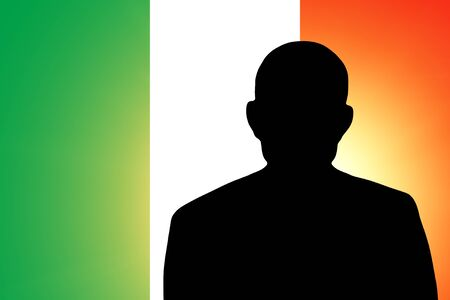 mayor: The Italian flag and the silhouette of an unknown man