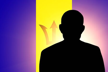 unnamed: The Barbados flag and the silhouette of an unknown man