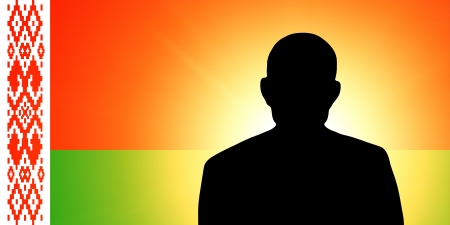 unnamed: The Belarusian flag and the silhouette of an unknown man Stock Photo