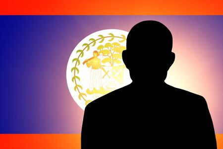 unnamed: The Belize flag and the silhouette of an unknown man