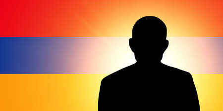armenian: The Armenian flag and the silhouette of an unknown man